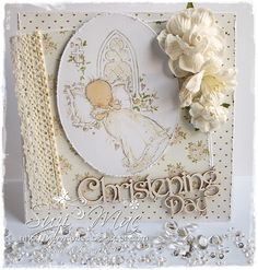 Sweet Christening card using papers, lace, chipboard from…
