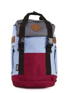 Red and blue G.Ride backpack. Material polyester 600D Cationic . 1 large compartment with inside laptop and zip pocket. Lateral zip for easy access.  Zip Pocket on flap. Flat pocket on front and 2 zipped side pockets. Sueded patchs on flap and sides. Drawstring closure and 2 tucks with harness attach. High quality double handle with snap attach. Reinforced base. High dentisty quilted back and shoulder straps. Size : 33 x 18 x 44