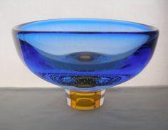 OUTSTANDING Signed KOSTA BODA G WARFF 59911 Glass BOWL Intricate BUBBLE Designs