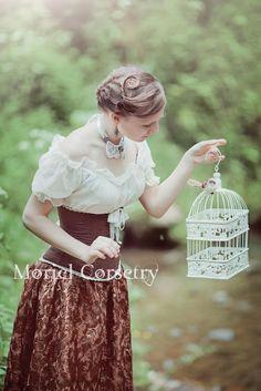 moriel_mornie - Корсаж из льна с брошью, блузка из шелка и юбка из гипюра