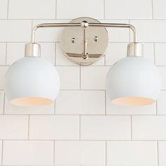 Young House Love Bubble Vanity Light - 2 Light - Shades of Light Young House Love, Boho Bathroom, Master Bathroom, Light Bathroom, Basement Bathroom, Bathroom Toilets, Bathroom Accesories, Neutral Bathroom, Bathroom Lighting