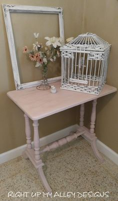 Vintage pink table,Small table,Entryway/Accent table,Annie Sloan paint,Distressed Table,Shabby Chic table,spindle table,occasional table by RightUpMyAlleyDesign on Etsy