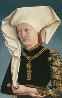 Beautiful pearled sleeve Anonymous German Artist active at the Court of Ansbach Portrait of a Lady wearing the Order of the Swan ca. 1490