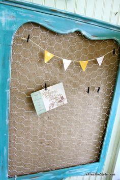 Cute chicken wire and burlap frame