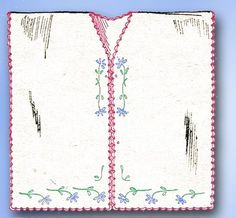 May Manton Embroidery Transfer 933Hot Iron Transfer Beautiful Combing Jacket TransferRare Antique CollectibleTo be worn while applying powder and Hair StylinDated 1918Factory Folded and Uncutwith Worn Envelope