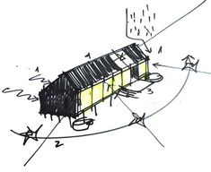 Image 27 of 34 from gallery of MÜLLER House / Ortuzar Gebauer Arquitectos. Eco Architecture, Concept Architecture, Architecture Sketches, Architect House, Architect Design, Building Sketch, Wood Stone, Creative Design, Building A House