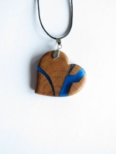 Heart Shaped Necklace Wood Resin Necklace Heart by WoodAllGood