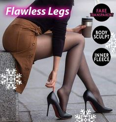Look Slimmer and Feel Warm with this Flawless Legs Pantyhose - It is not a regular sheer stockings nor opaque leggings. Our Flawless Legs Pantyhose is innovati Winter Mode Outfits, Winter Fashion Outfits, Winter Outfits, Autumn Fashion, Pantyhose Outfits, Pantyhose Legs, Flatten Tummy, Quoi Porter, Long Sweaters