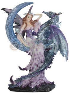 "10"" Purple Fairy Sitting atop Dragon Figurine"