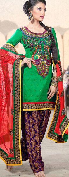 $105.68 Green Full Sleeve Faux Georgette Knee Length Punjabi Salwar Kameez 18299