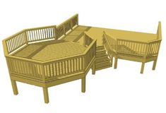 This spacious two level deck features a octagon that functions as the primary entertaining area. The octagon form is elevated and set from the house to accommodate views and to engage the landscape. The bottom deck includes a grill bay and a pocket st Cool Deck, Diy Deck, Free Deck Plans, Two Level Deck, Deck Building Plans, Deck Makeover, Deck Stairs, Backyard Patio Designs, Deck Design