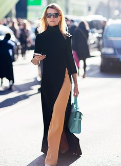Lengthen legs using asymmetric hem in contrasting colors.