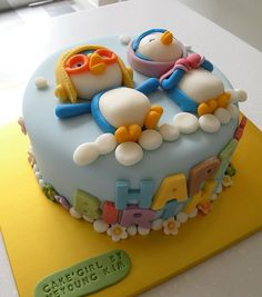"""BCK Pororo cake (Korean Famous animation """"Pororo and his friends"""") - Here are pororo and his girlfriendby Cake Girl by Hyeyoung Kim, via Flickr"""