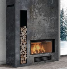 The fireplace is definitely asymmetrical with the way the wood acts as decor and function. Fireplace Tv Wall, Concrete Fireplace, Living Room With Fireplace, Fireplace Surrounds, Contemporary Fireplace Designs, Modern Fireplaces, New Homes, House Design, Tv Camino