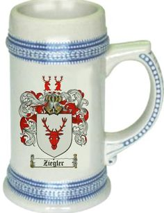 Ziegler Coat of Arms / Family Crest stein mug - $21.99