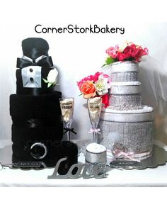 Bride And Groom Towel Cake Gift Set Cakes Wedding Gifts Centerpieces