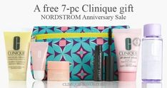 Early Access at Nordstrom: a free 7-pc Clinique gift with any $35 Clinique purchase. The offer will be available for everyone starting on July 28. Clinique Gift, Nordstrom Anniversary Sale, Debenhams, Dillards, Cosmetic Bag, Free Gifts, July 28, Promotional Giveaways