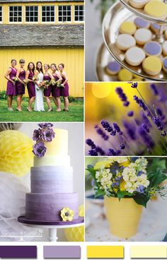 countryside shades of purple and yellow 2015 wedding color trends