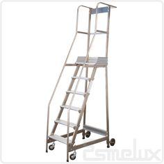 Escalera de plataforma con ruedas cc br en acero for Escaleras con plataforma precios