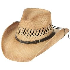 Cavenders Raffia Vent Double Cross Straw Cowboy Hat (77 BRL) ❤ liked on Polyvore featuring accessories, hats, raffia cowboy hat, western straw hats, raffia hat, western style hats and straw cowboy hats