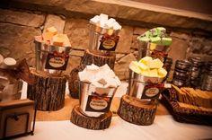 Rustic wedding decor, wood slice centerpieces by angelia