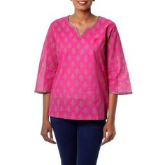 NOVICA Indian Floral Cotton Block Printed Tunic Top (35.060 CLP) ❤ liked on Polyvore featuring tops, tunics, clothing & accessories, pink, floral tunic, embellished tops, v-neck tops, sequin tunic and sequin top