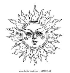 Hand drawn sun with face stylized as engraving. Can be used as print for T-shirts and bags, cards, decor element. Flash Art Tattoos, Kunst Tattoos, Tattoo Drawings, Arm Tattoo, Sleeve Tattoos, Chest Tattoo, Unique Tattoos, Small Tattoos, Tattoo Sonne