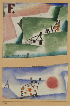 """met-modern-art: """" Tomcat's Turf by Paul Klee by Paul Klee via Modern and Contemporary Art Medium: Watercolor, gouache, and oil on gesso on two sections of fabric mounted on cardboardThe Berggruen Klee..."""