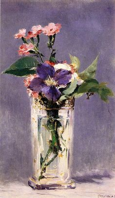 Pinks and Clematis in a Crystal Vase Oil Painting By Edouard Manet