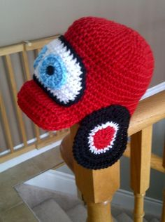 Lightening McQueen crocheted hat by devonfebz, Canada, as seen on Craftsy.com