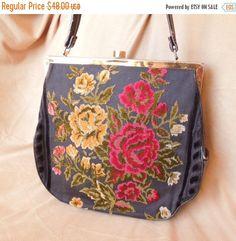 MOVING SALE Vintage 60's Needlepoint Handbag by momodeluxevintage
