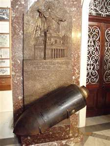 Bomb that came through the dome of Mosta Dome Cathedral in Malta, 1942, during mass with 300 people attending. No one was hurt or killed because the bomb did not explode.