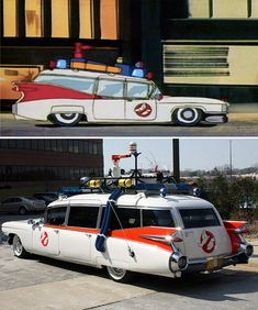 This is the 1959 Cadillac Miller-Meteor ambulance limo that was transformed by Universal Studios into the Ecto-1 Ghostbusters car.
