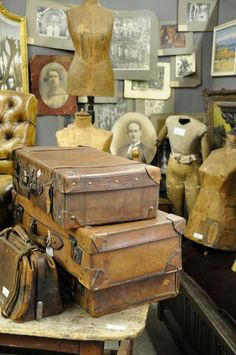 Old Photos,dress forms and vintage leather luggage Old Trunks, Vintage Trunks, Trunks And Chests, Vintage Suitcases, Vintage Luggage, Vintage Travel, Old Luggage, Leather Luggage, Leather Suitcase