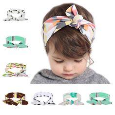 การเปรยบเทยบราคา 2017 Lovely Newborn Headband Fashion Bunny Ear Kids Girl Bow Elastic Knot Headbands DIY Bowknot Headwear Hair Accessories ซอวนน