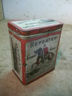 Old Repeater Tobacco Tin Canadian Mounty & Horse