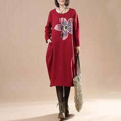 Autumn Plue Size Female Casual Long Sleeve Round Neck Printing Irregular Long Dark Red Dress