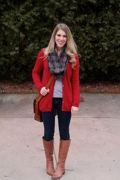 e4ec086557 Red Boyfriend Cardigan and Jeans. I do deClaire
