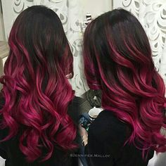 71 most popular ideas for blonde ombre hair color - Hairstyles Trends Dark Pink Hair, Black Hair Ombre, Magenta Hair, Bold Hair Color, Hair Color And Cut, Burgundy Hair, Hair Dye Colors, Ombre Hair Color, Ombre Hair Brunette