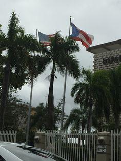 Departamento de Hacienda SJ cumple con reglamento aunque casi parece que la bandera de PR pueda estar un poco menos elevada. Lunes 7 de marzo 12:10pm  #banderasyescudosVSJ #sagradoenero2016
