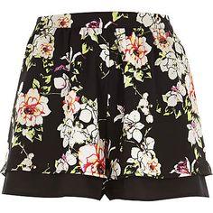 Black floral print shorts £20.00