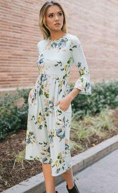 the Atina Mint Floral Midi Dress