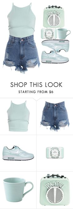 """""""thrive"""" by dai-co ❤ liked on Polyvore featuring NIKE, Mistral, Royal Doulton, cute, casual, simple, pastel and comfortable"""
