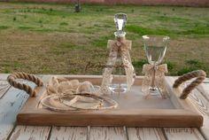 σετ γαμου δίσκος-καράφα-ποτήρι Wedding Wreaths, Wedding Decorations, Table Decorations, Wedding Ideas, Place Cards, Place Card Holders, Vintage, Design, Home Decor
