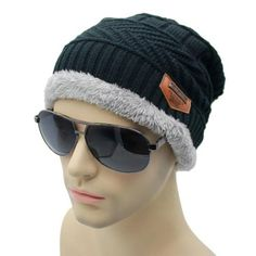 490737a3ca1ae Winter Hats For Men Beanie Fur Warm Baggy Wool Knit Hat Bonnet Outdoor Ski  Sports Cap