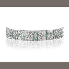 An art deco emerald and diamond bracelet, circa 1930