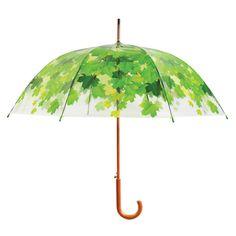 Transparent pvc pu umbrella, leaf nature print pattern, tree. / Doorzichtige paraplu van Esschert Design met een groene print van bladeren in de vorm van een boom. ------------- 7.95€