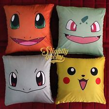 Pokemon Pillow Case Cover | 16x16 | Charmander, Bulbasaur, Squirtle, & Pikachu