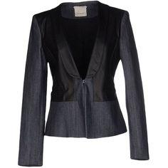 Pinko Blazer ($97) ❤ liked on Polyvore featuring outerwear, jackets, blazers, blue, blue jackets, pinko jacket, leather jackets, real leather jackets and animal jacket