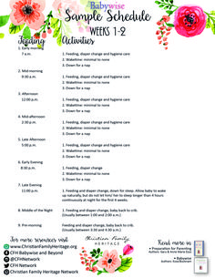Weeks - Babywise Sample Schedule helps parents 'begin as you mean to go'! Julie Young, Baby Growth, Sleep Schedule, Christian Families, Parents, Printables, Activities, Education, Rose